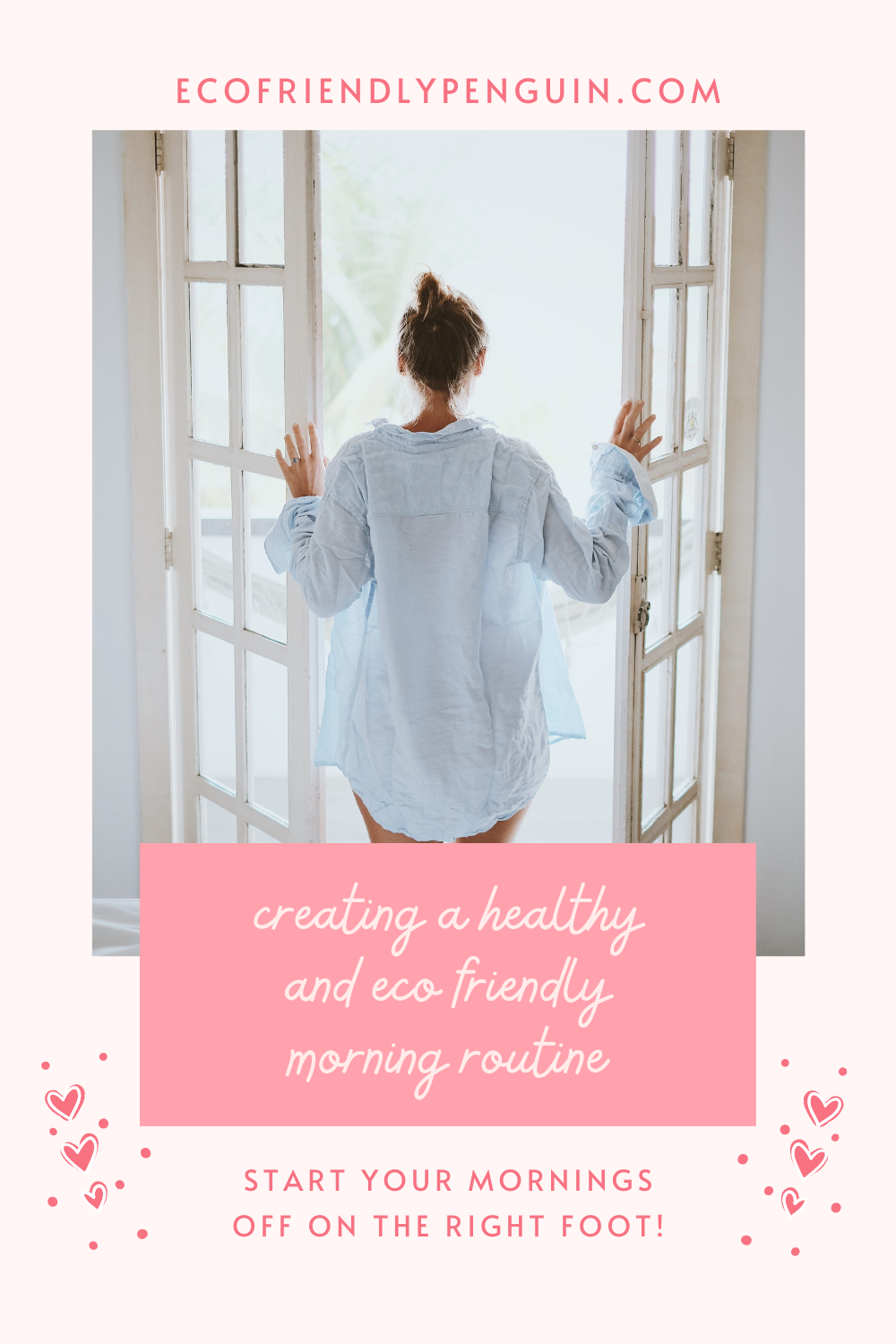 woman standing in front of window, test reads healthy morning routine